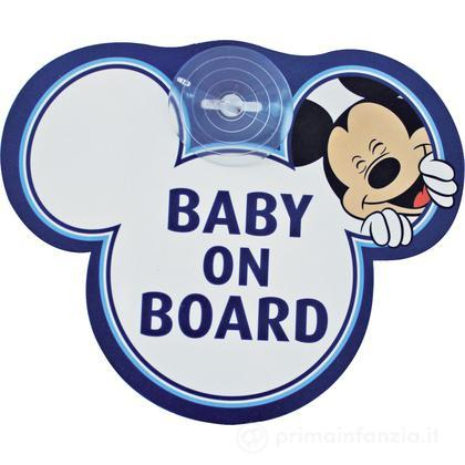 "Segnale auto con ventosa ""baby on board"" Mickey"