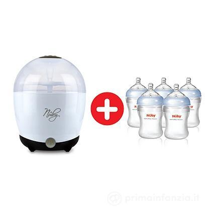 One Touch Sterilizzatore elettrico a vapore + 5 biberon da 210 ml