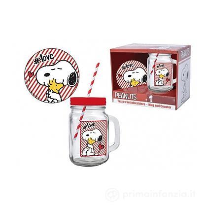 Bicchiere con cannuccia Snoopy