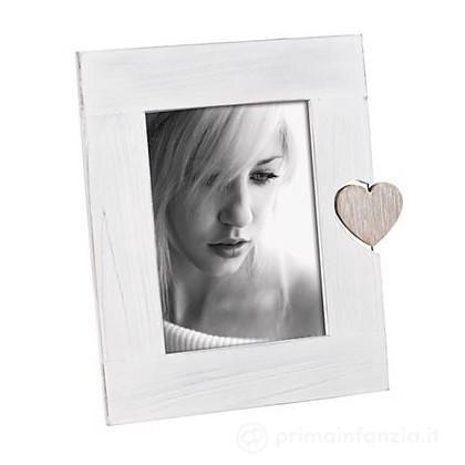 Cornice Portafoto 13x18 cm Legno Bianco Cuore