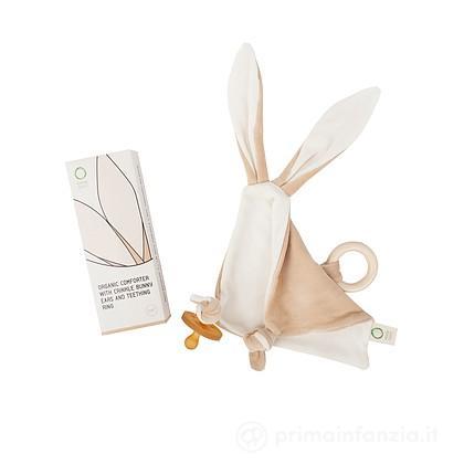 Doudou Bunny con orecchie e Anello in Legno Dentizione