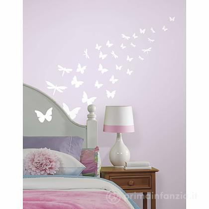 Adesivi murali rimovibili Butterfly e Dragonfly Glow in the Dark