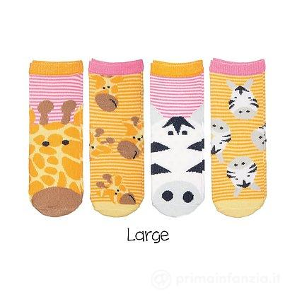 Set 4 paia Calzini Safari Giraffa e Zebra Bambina