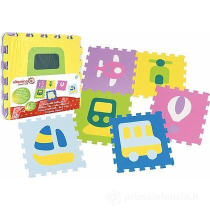 Tappeto Puzzle con Mezzi 6pz