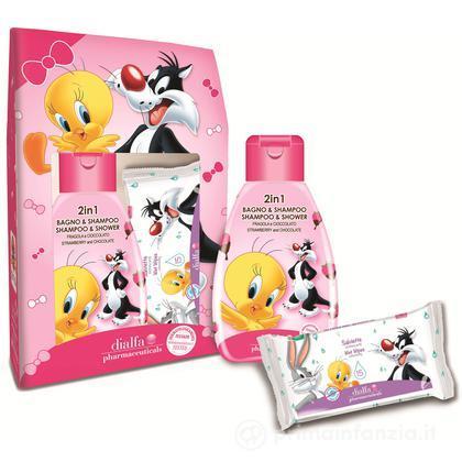Cofanetto 2 in 1 Bagnoschiuma & Shampoo Fragola e Cioccolato + salviette Looney Tunes