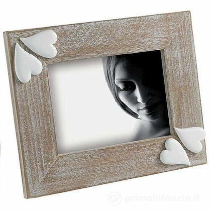 Cornice portafoto in legno con cuori 13 x 18 cm