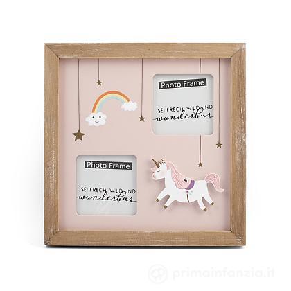 Porta foto in legno Unicorno 2 posti 7 x 7 cm
