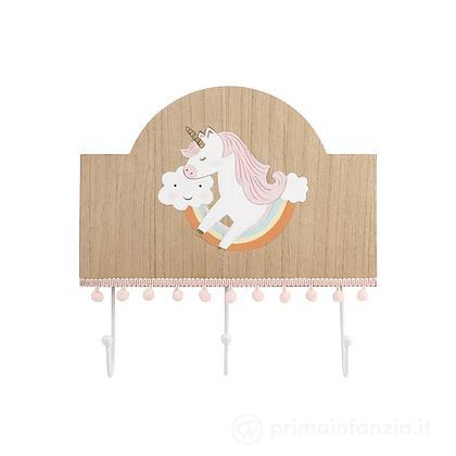 Porta abiti in legno Unicorno 27 x 26 cm