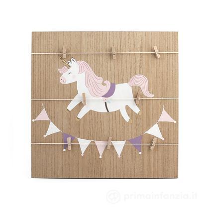 Porta memo in legno Unicorno 42 x 42 cm
