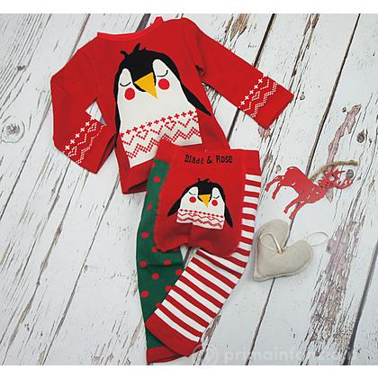 Set Leggings e Maglietta Pinguino di Natale