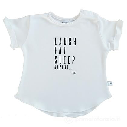 Maglia manica corta Laugh, Eat, Sleep